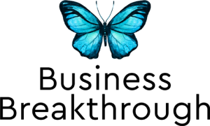 Business Breakthrough Blue Butterfly Logo